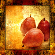 Pear Art Mixed Media Prints - 3 Little Red Pears Are We 2 Print by Andee Photography