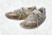 Studio Shot Paintings - Old Running Shoes by Danny Smythe