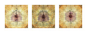 Fabric Collage Posters - Prayer Flag Triptych  Poster by Carol Leigh