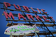 Locally Grown Metal Prints - Seattle Market Sign Metal Print by Brian Jannsen