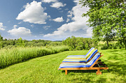 Blue Chairs Posters - Summer relaxing Poster by Elena Elisseeva