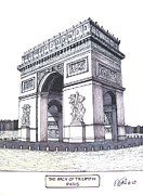 Buildings Art Drawings Framed Prints - The Arch of Triumph Framed Print by Frederic Kohli