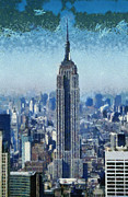 Observation Painting Framed Prints - View of Manhattan and Empire State Building from Observation Deck at Rockefeller Center Framed Print by George Atsametakis