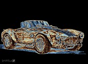 Sepia Drawings Prints - 1965 Shelby AC Cobra Print by J McCombie