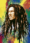 Lead Mixed Media Posters - Bob Marley stylised pop art drawing potrait poser Poster by Kim Wang