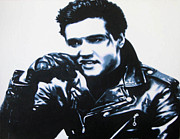 Rockabilly Painting Posters - Elvis Poster by Luis Ludzska
