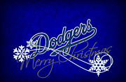 Christmas Doors Framed Prints - Los Angeles Dodgers Framed Print by Joe Hamilton