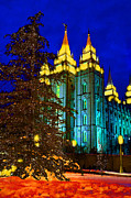 Angel Moroni Framed Prints - Salt Lake City Temple Square Christmas Lights  Framed Print by Lane Erickson