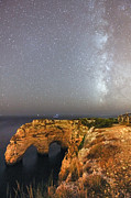 Mediterranean Landscape Framed Prints - Starry Sky at Praia da Marinha Framed Print by Andre Goncalves
