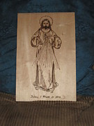 Jesus Pyrography Framed Prints - The Divine Mercy Framed Print by N Gardner