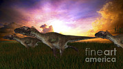 Running Digital Art - Three Utahraptors Running by Kostyantyn Ivanyshen