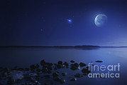 Sea Moon Full Moon Framed Prints - Tranquil Lake Against Starry Sky, Moon Framed Print by Evgeny Kuklev