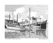 Yachts Drawings Prints - 46 foot Stephans Yacht and Tugboat Print by Jack Pumphrey