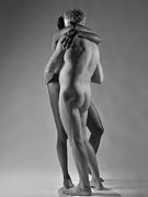 Tasteful Art Photo Prints - 4798 Black and White Nude Couple Print by Chris Maher
