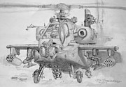 Chopper Drawings - Apache H-64 Helicopter by Jim Hubbard