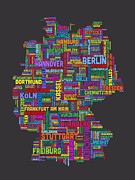 Cartography Digital Art - Text Map of Germany Map by Michael Tompsett