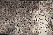 Angkor Art - A Bas-relief of Bayon 14 by Zaw  Wai