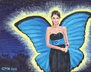 Strapless Dress Painting Framed Prints - A Blue Fairy Framed Print by Glenn Harden