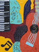 Piano Keys Painting Originals - A Bold Session by Robin Hillman