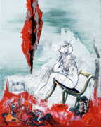 Stage Mixed Media Originals - A Chair for My Heart please - Thank you. by Elisabeta Hermann