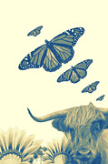 Cow Digital Art Originals - A cow and some butterflies by Anna Yanova