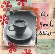 Coffee Posters - A Good Start Poster by Linda Woods
