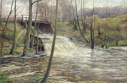 Mill Painting Framed Prints - A Mill Stream Framed Print by Karl Oderich