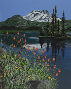 Mt. Bachelor Paintings - A Peaceful Place by Jennifer Lake