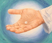 Jesus Art Paintings - A Pearl in His Hand by Jeanette Sthamann