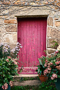 Bright Framed Prints - A Pink Door Framed Print by Olivier Le Queinec