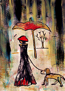 Interior Designer Mixed Media Metal Prints - A rainy walk with a dog Metal Print by Catalina Lira