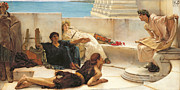 Classical Metal Prints - A reading from Homer Metal Print by Sir Lawrence Alma Tadema