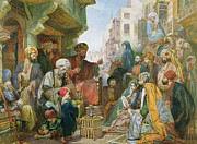 Turban Framed Prints - A Street in Cairo Framed Print by John Frederick Lewis