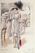 Fashion Design Drawings Framed Prints - A Town Dress Framed Print by French School