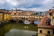 San Rafael Church Prints - A View of Ponte Vecchio from the Uffizi Print by Arnaldo Torres