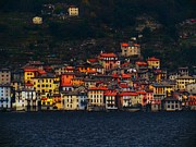 Lago Di Como Framed Prints - A Village on the Lake Framed Print by Francesco Plazza