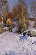 Outdoor Prints - A Winter Landscape with Children Sledging Print by Peder Monsted