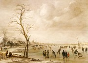 Aert van der Neer - A Winter Landscape with Townsfolk...