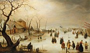 Hendrik Avercamp - A Winter River Landscape with Figures...