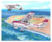 Husky Art Prints - A1A Husky and Cessna 206 Print by Jack Pumphrey