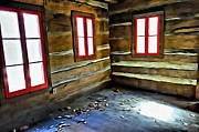 Cabin Window Digital Art Prints - Abandoned Log Cabin Red Windows Print by Rebecca Korpita