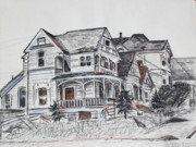 Abandoned Houses Drawings Prints - Abandoned Victorian and Neighbors in Oakland California Print by Asha Carolyn Young