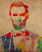 Politicians Mixed Media Framed Prints - Abraham Lincoln Watercolor Portrait on Worn Distressed Canvas Framed Print by Design Turnpike