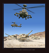 Apache Framed Prints Framed Prints - Abrams Battle Tank and Apache Longbow Framed Print by Larry McManus