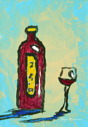 Wine Glass Paintings - Abstract Art Original Wine Bottle Glass Painting Simple by Megan Duncanson by Megan Duncanson