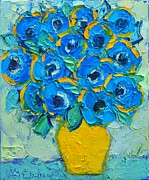 Ana Maria Edulescu - Abstract Bunch Of Blue Poppies In Yellow Vase