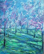 Washington Dc Drawings - Abstract Cherry Trees by Eric  Schiabor