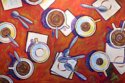 Food And Drink Originals - Abstract coffee art ... The Get Together by Amy Giacomelli