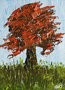 Handmade Trunk Posters - Abstract Maple Tree Palette Knife Painting Poster by Keith Webber Jr