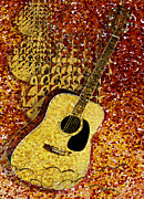 Note Digital Art - Acoustic Guitar by Jack Zulli